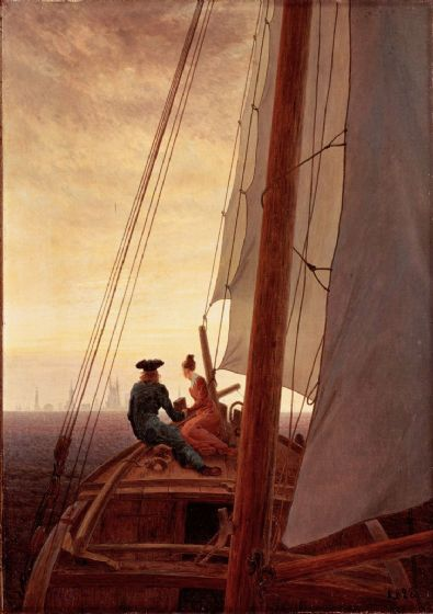 Friedrich, Casper David: On Board a Sailing Ship. Fine Art Print/Poster. Sizes: A4/A3/A2/A1 (00473)